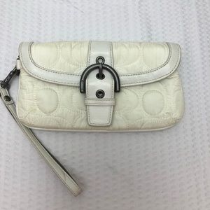 Coach White Quilted Wristlet Wallet